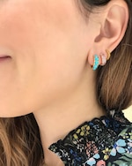 Jane Taylor Turquoise Chubby Hoop Earrings 2