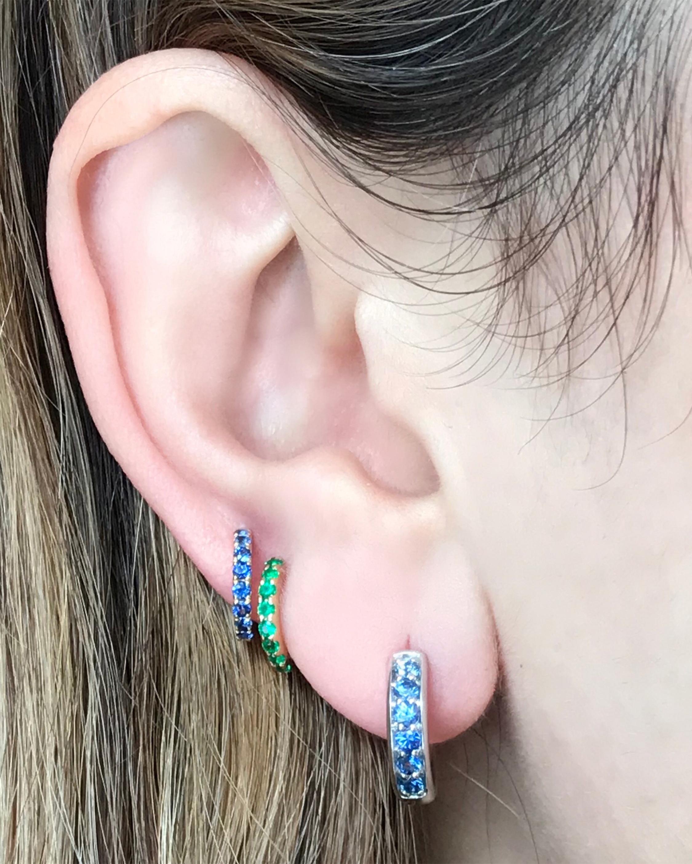 Emerald Slim Huggie Earrings