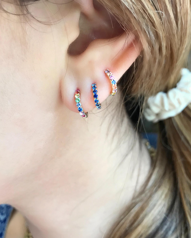 Jane Taylor Sapphire Slim Huggie Earrings 1
