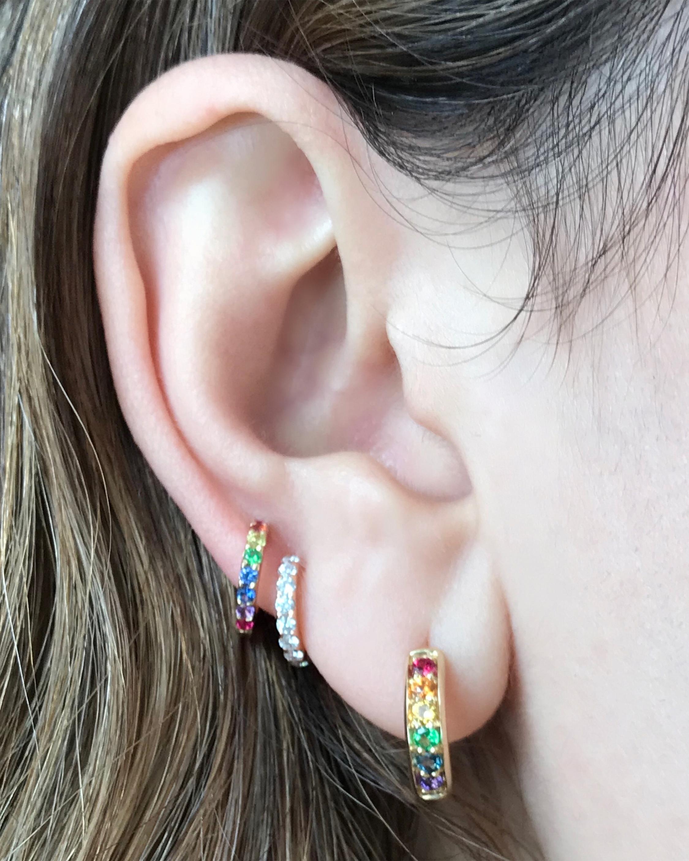 Multi-Stone Slim Huggie Earrings