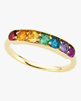 Rainbow Gemstone Half Eternity Band