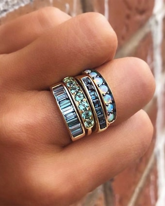 Australian Opal Half Eternity Band