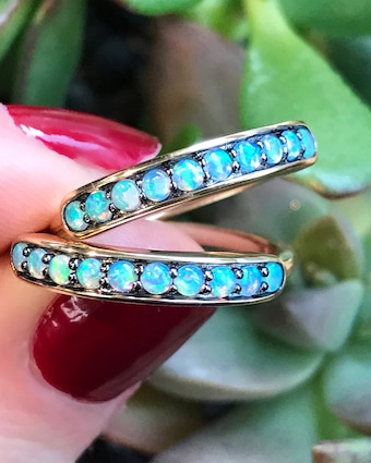 Australian Opal Small Half Eternity Band