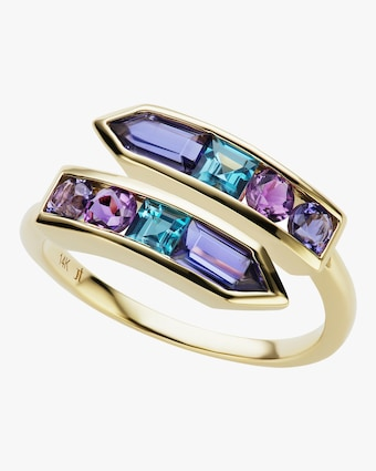Topaz & Amethyst Bypass Arrow Ring