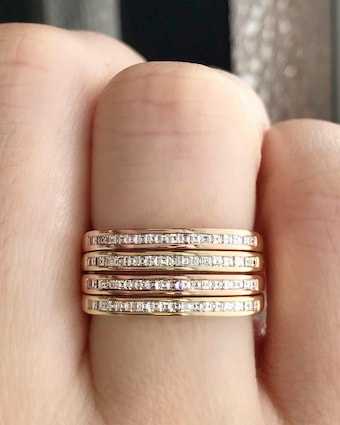 Yellow Gold Ultra Slim Square Stacking Band