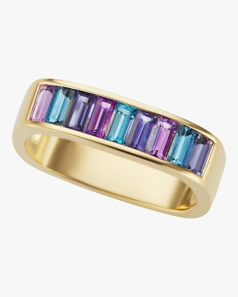 Amethyst & Topaz Baguette Square Stacking Band