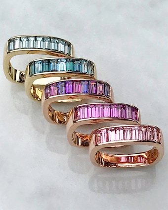 Blue Zircon Baguette Square Stacking Band