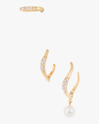 Feminine Waves Pavé Earring Set