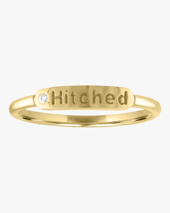 Hitched Skinny Signet Diamond Mantra Ring