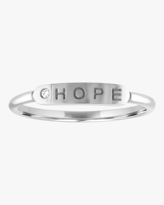 My Story Hope Skinny Signet Diamond Mantra Ring 0