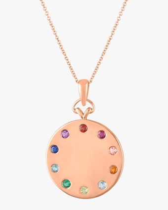 Minerva Rainbow Disk Pendant Necklace