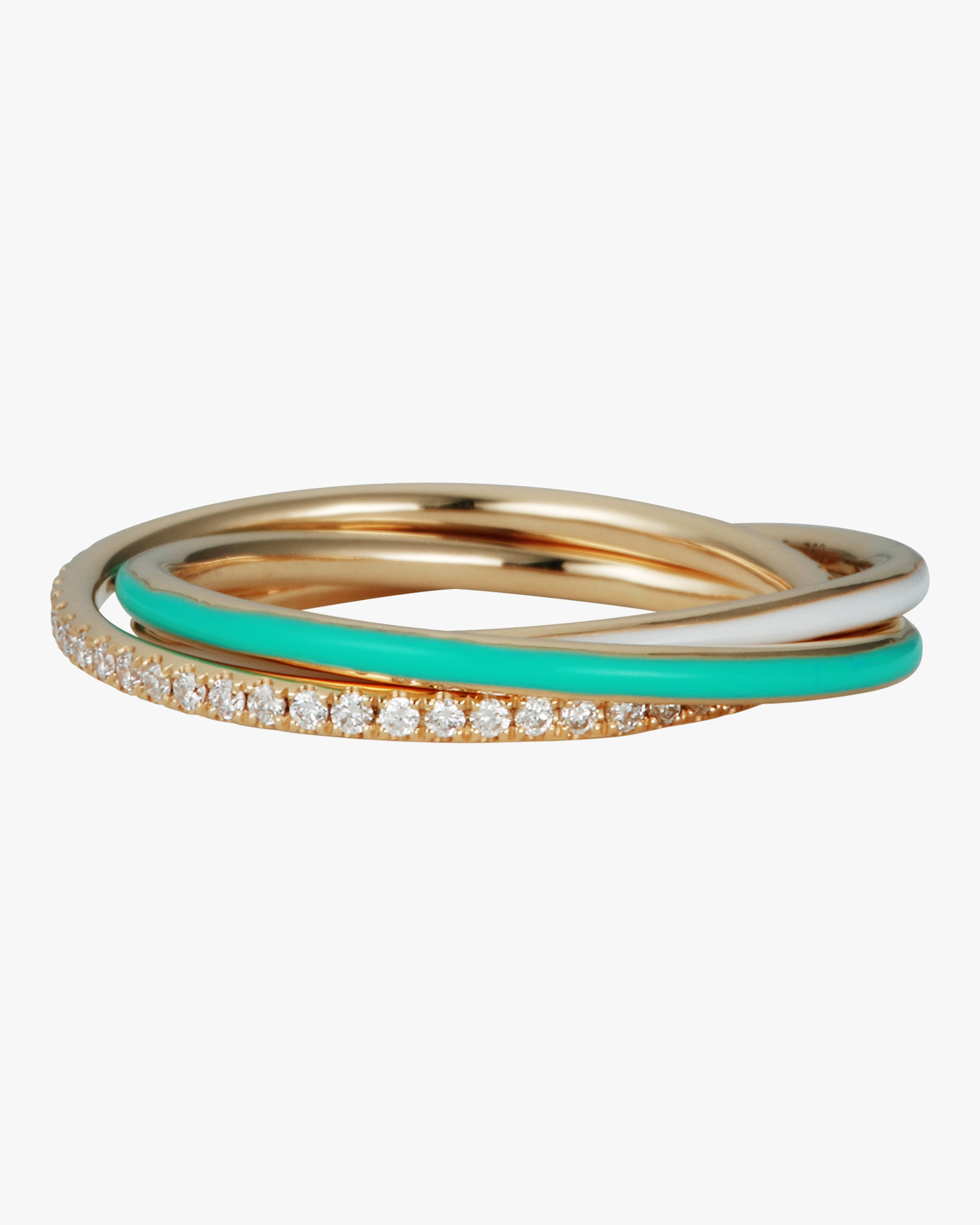 Suel Trinity Diamond Ring In Gold/mint Green