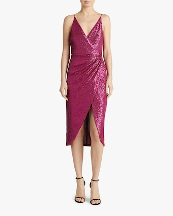 Sequin-Embroidered Cami Wrap Dress