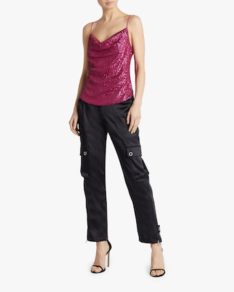 Sequin-Embroidered Cowl Neck Cami