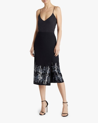 Novelty Ribs Sequin Front-Slit Skirt