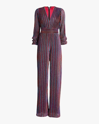 Rainbow Pleats Deep V Jumpsuit
