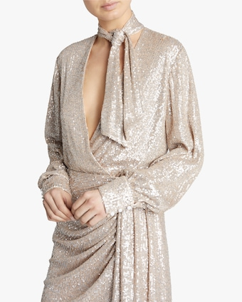 Sequin-Embroidered Surplice Bodysuit