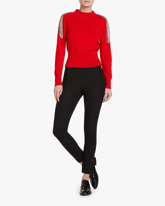 Christopher Kane Chain-Brooch Cropped Sweater 1