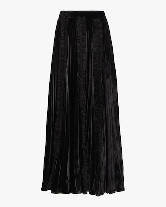 Pleated Velvet Frill Skirt