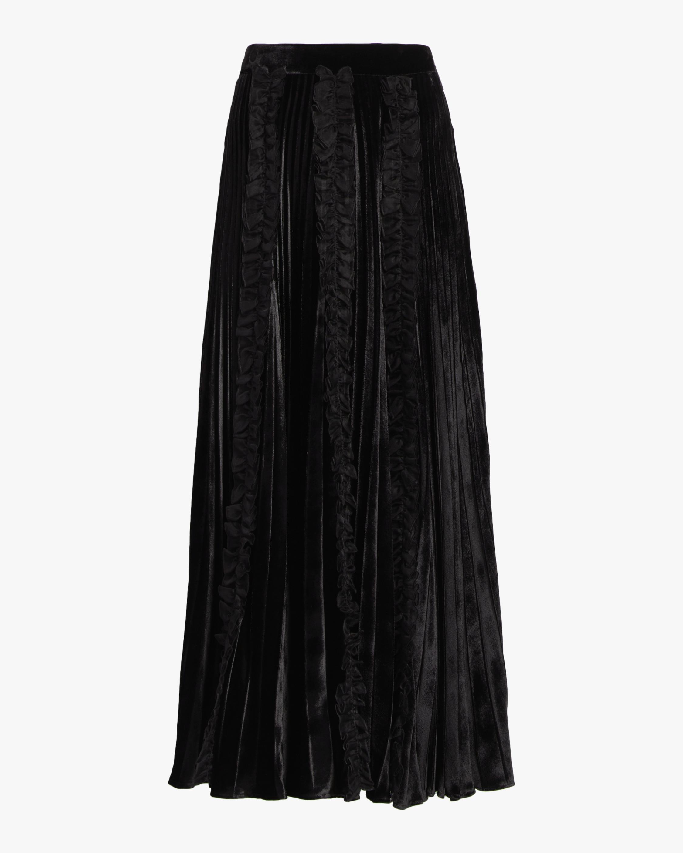 Christopher Kane Pleated Velvet Frill Skirt 0
