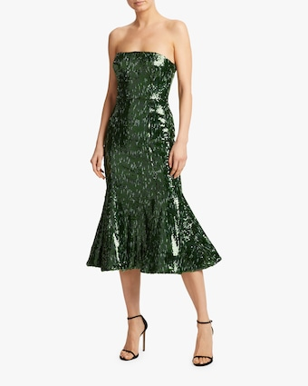 Strapless Sequin Midi Dress