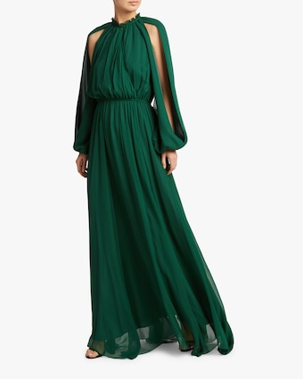 Shoulder-Cutout Gathered Gown