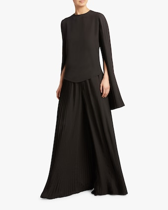 Pleated Crêpe Wide Leg Pants