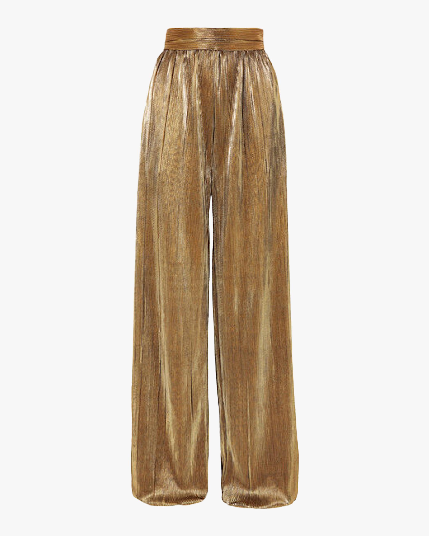 Plissé Lamé Wide Leg Pants
