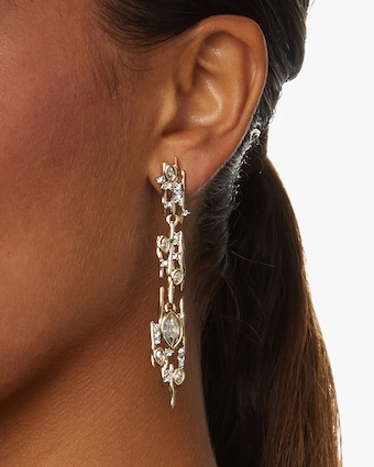 Navette Crystal Linear Spike Post Earrings