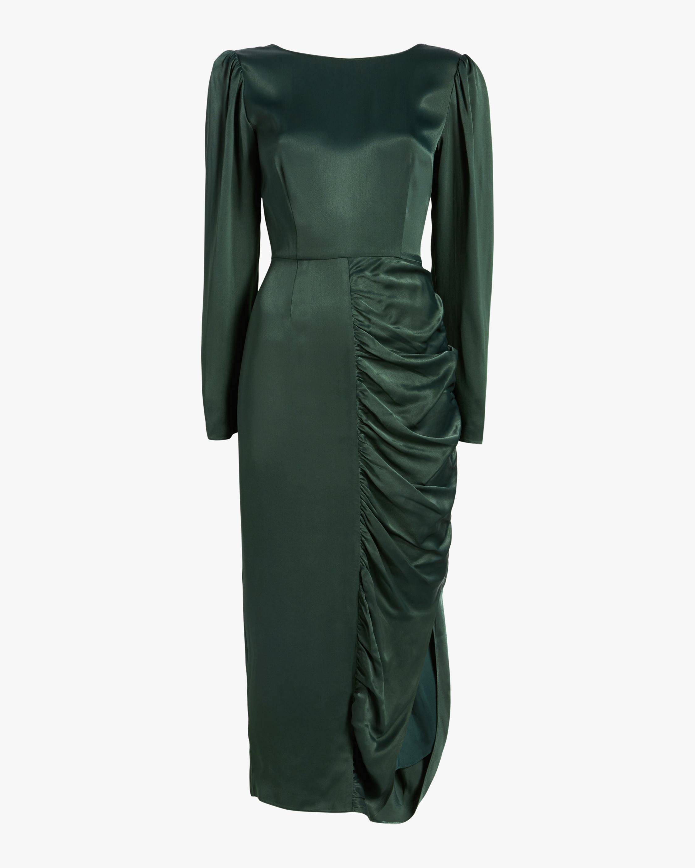 ALEXACHUNG Gathered Crêpe Satin Dress 1