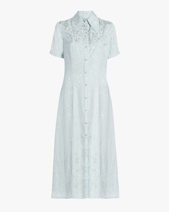 Puff-Sleeve Button-Up Dress