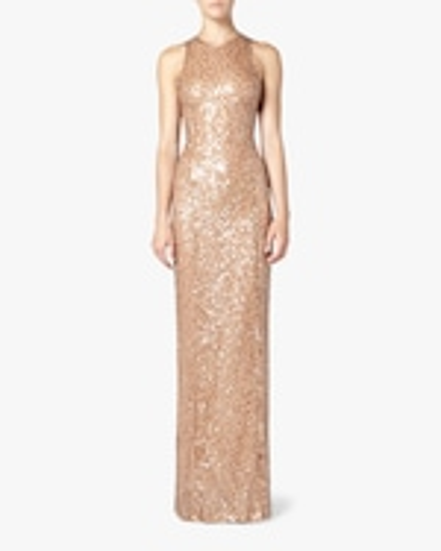 Galvan Pailette Column Dress 0