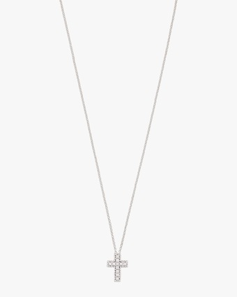 Princess-Cut Cross Pendant Necklace