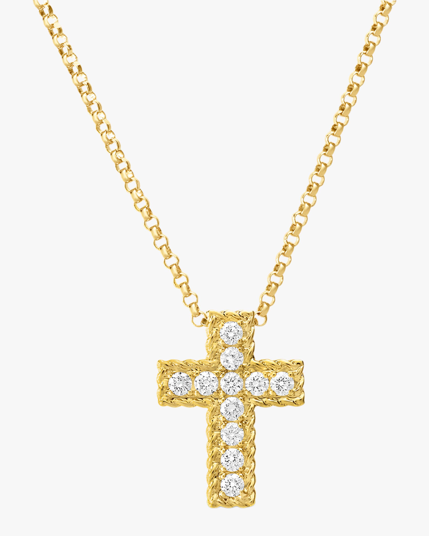 Princess-Cut Cross Pendant Necklace