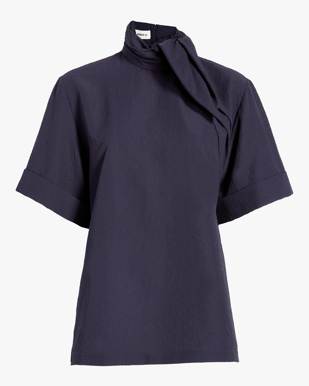 Neck Ribbon Short-Sleeve Top