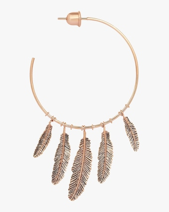 Single Five-Feather Hoop Earring