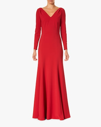 Carolina Herrera V Neck Trumpet Gown 1