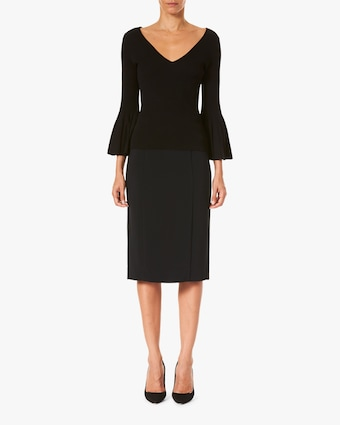 Carolina Herrera Flared-Sleeve V Neck Top 1