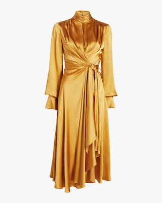 Tie-Front Satin Midi Dress