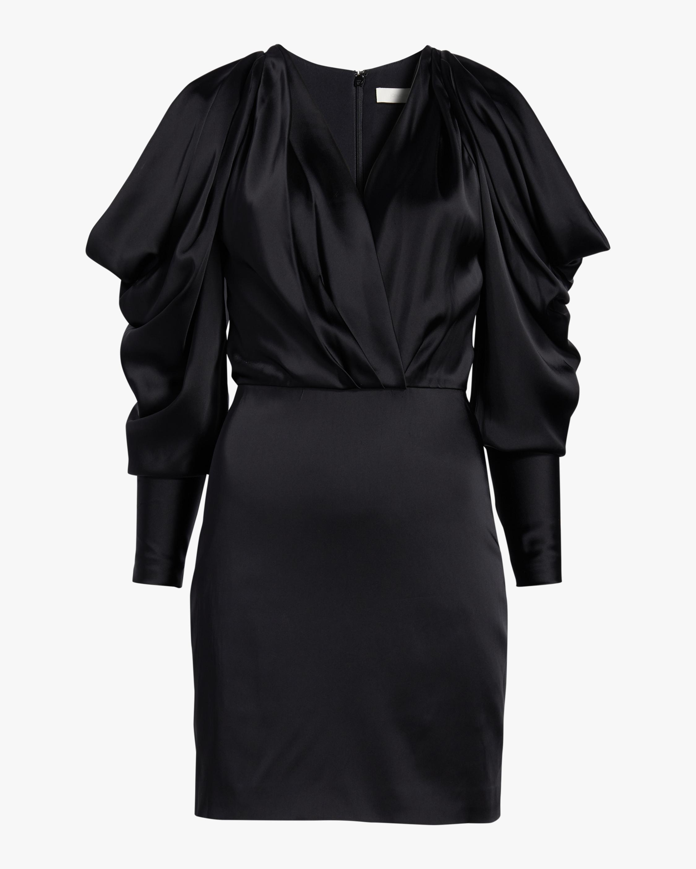 Pleated-Sleeve Mini Dress