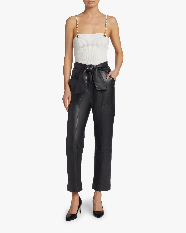 Jonathan Simkhai Faux Leather Tie-Waist Pants 1
