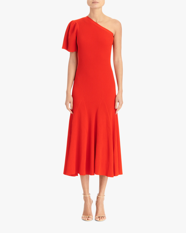 Carolina Herrera One-Shoulder Flutter-Sleeve A-Line Dress 0