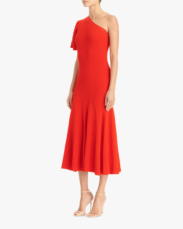 Carolina Herrera One-Shoulder Flutter-Sleeve A-Line Dress 1