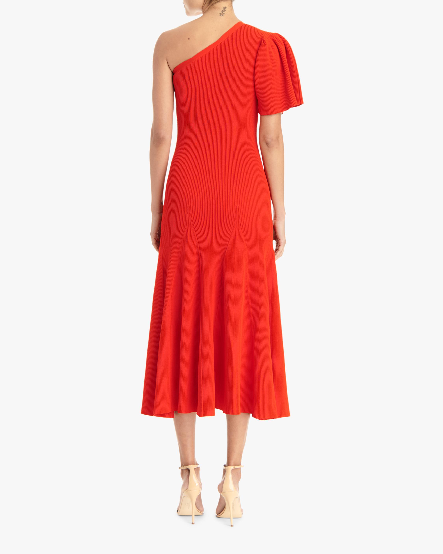 Carolina Herrera One-Shoulder Flutter-Sleeve A-Line Dress 2
