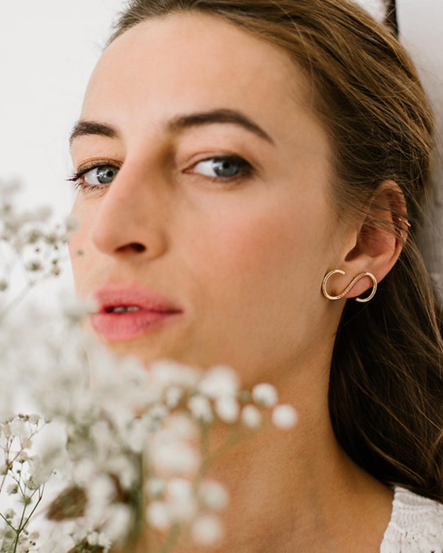 Singular Pink Sapphire Signature Earring