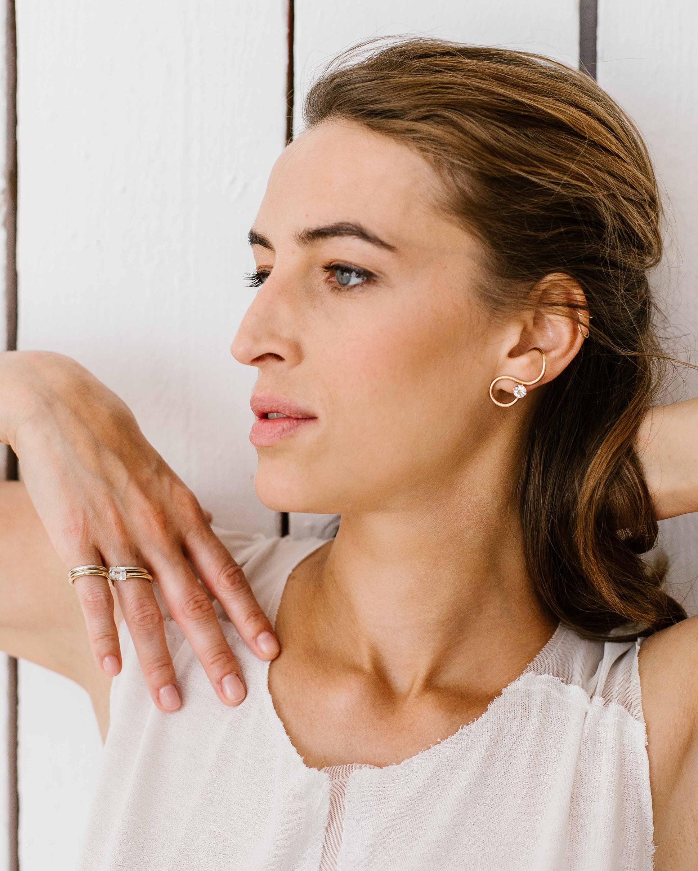 Singular White Topaz Signature Earring
