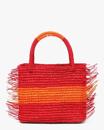 Two-Tone Canasta Baby Fringe Bag