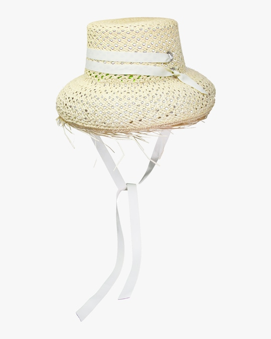 Sensi Studio Frayed-Brim Lamp Shade Hat 0