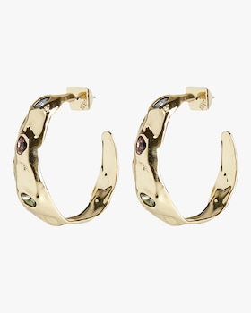 Stone-Studded Crumpled Hoop Earrings