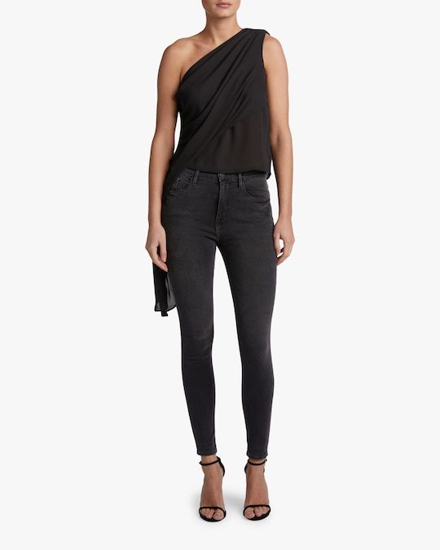 Krisa One Shoulder Tie-Waist Top 1